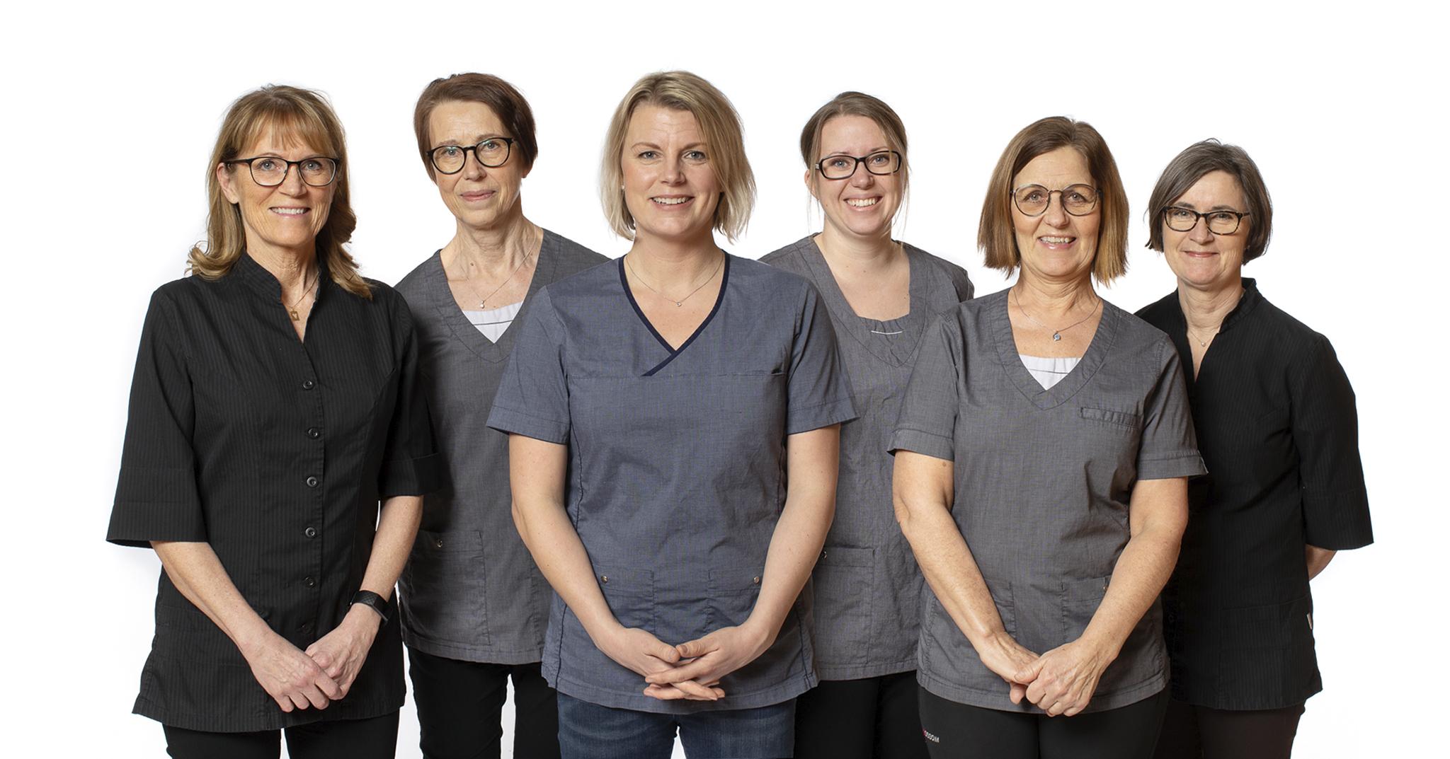 Tandsköterskorna Gunilla, Christin, Johanna, Sofie, Marie och Annika